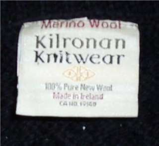Kilronan Knitwear Ireland Merino wool black Irish cardigan sweater