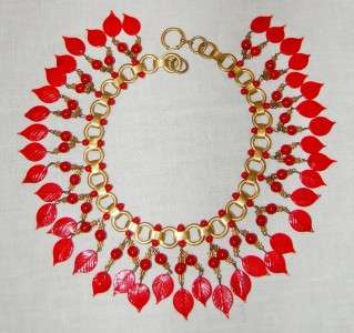Vintage Czechoslovakian Lipstick Red Glass Russian Gold Choker Fringe