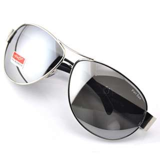 fashion New Mens Sunglasses Aviator Black Lens Silver Mirror Metal