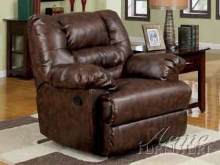 Brown Bonded Leather Recliner Arm Chair
