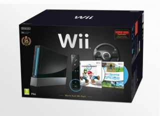 Black Wii Console Bundle With Wii Motion Plus Controller, Mario Kart