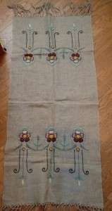 & CRAFTS MISSION LONG EMBROIDERED LINEN TABLE RUNNER DRESSER SCARF
