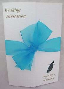 Peacock Lace Gatefold Wedding Day / Evening Invitation Birthday etc