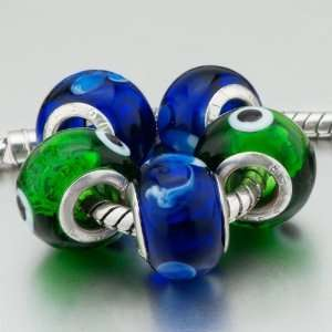 5 Deep Blue Green Beads Fit Pandora Charms (include