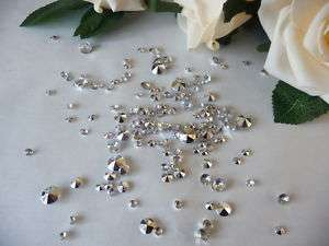 3000 Mixed Wedding Diamond Crystals Confetti Gem Silver