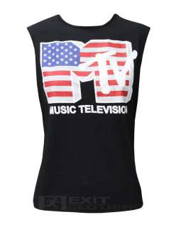 New Ladies Womens Printed MTV American Flag Vest Top Black White Sizes