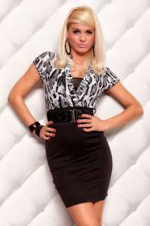 STUNNING BUSINESS STRETCH DRESS STYLE SHIRT SKIRT BELT