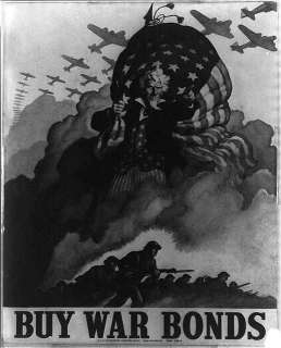 Buy War Bonds,airplanes,Uncle Sam,US Flag,troops,poster,WWII,World War