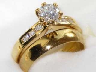 WOMENS ENGAGEMENT RING PLAIN WEDDING BAND SET SIMULATED DIAMONDS RG018