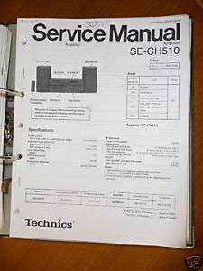 Service Manual Technics SE CH510 Amplifier,ORIGINAL