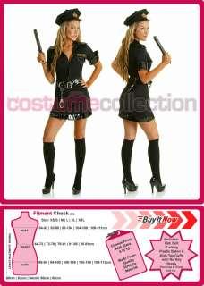 Ladies Black Cop Police Officer Uniform Fancy Dress Halloween Costume