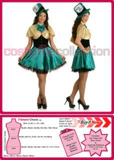 Ladies Mad Hatter Alice In Wonderland Fancy Dress Halloween Costume