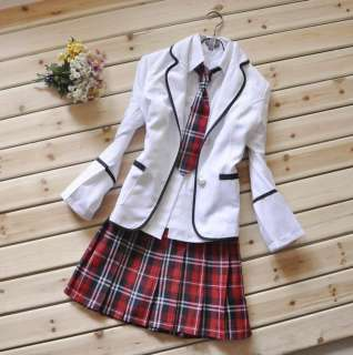 White Dress on Japanese School Girl Uniform Red Tartan Dress White Costume Surcoat