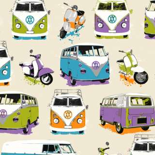 Muriva Multi Coloured VW Camper Van Moped Wallpaper J05901 Beach Hut