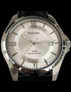 VX42 X290 SD Pulsar Mens Gents Date Display Leather Strap Watch