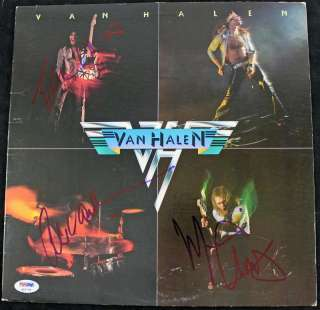 EDDIE & ALEX VAN HALEN & MICHAEL ANTHONY SIGNED ALBUM COVER PSA/DNA