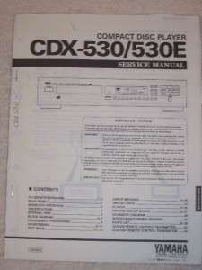Yamaha Service Manual~CDX 530/530E CD Disc Player