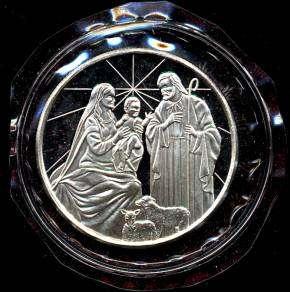 OZ 999 SILVER ROUND MARY, JOSEPH AND BABY JESUS