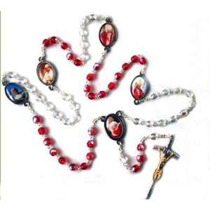 Pope Benedict and John Paul II Rosary   6mm Clear and Red Crystal