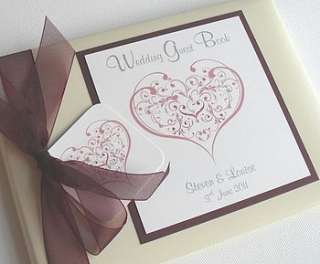 personalised love heart wedding guest book by dreams to reality design