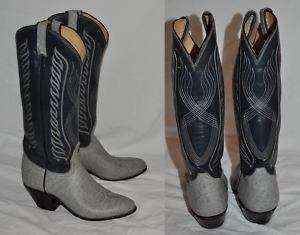TONY LAMA 6B Mens GRAY WESTERN Cowboy BOOTS Black Label