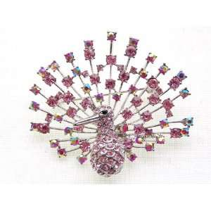 Borealis Pink Rose Crystal Rhinestone Peacock Bird Pin Brooch Jewelry