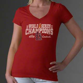 St. Louis Cardinals Womens Red 2011 World Series Champions Trophy V