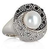 5mm Cultured Freshwater Pearl and Black and Clear Crystal Swirl Ring