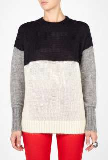 Joseph  Black Soft Mohair Block Colour Sweater by Joseph