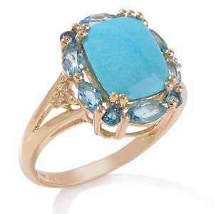 Sleeping Beauty Turquoise and Multigemstone 14K Ring
