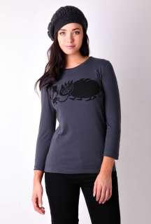 Navy Organic Long Sleeve Monster T Shirt by YMC   Navy   Buy Tops