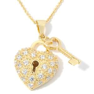 78ct Absolute™ Heart Shaped Lock and Key Pavé Pendant