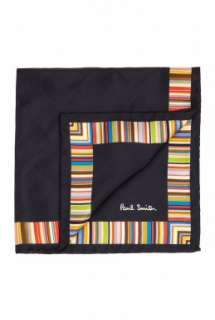 Paul Smith Accessories  Multi Striped Edged Black Silk Pocketchief by