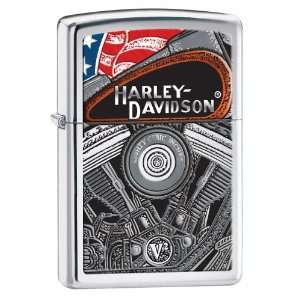 Zippo Lighter Harley Engine, High Polish Chrome