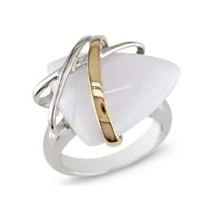 Silver Pink Gold Plated Trillion White Agate Fashion Ring Jewelry