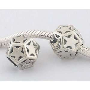 925 Sterling Silver European Style Antique Silver Star Charms/beads