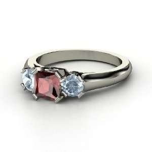 Ring, Princess Red Garnet 14K White Gold Ring with Aquamarine Jewelry