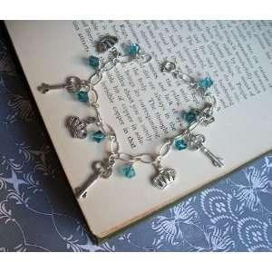 KEYS and CROWNS Charm Bracelet, Blue Swarovski Crystals