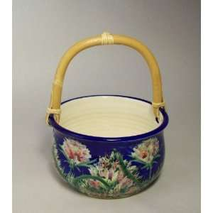 Blue Monet Basket Bowl by Moonfire Pottery