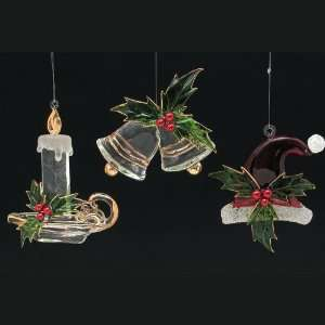 Club Pack of 12 Bells, Candle and Santa Claus Hat Christmas Ornaments