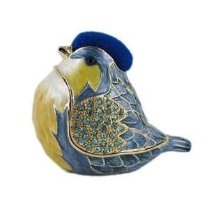com Blue Bird Jewelry Box / Trinket Box with Swarovski Crystals & Pin