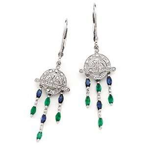 White Gold Blue Sapphire, Emerald & Diamond Earring