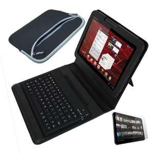 Skque Black Bluetooth Keyboard Leather Case + Clear Screen