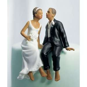 Wedding Cake Topper   Sitting Bride Groom   Non Caucasian (1 Topper