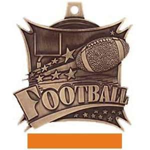 , Xtreme Custom Football Medal M 701F BRONZE MEDAL/ORANGE RIBBON 2.5