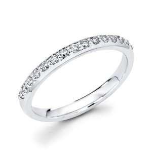 Diamond Wedding Band 14k White Gold Anniversary Ring (1/4 Carat), Size