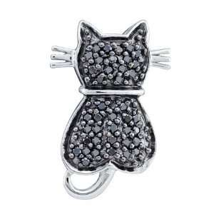 14K White Gold Diamond Cat Pendant Contains 0.25CT Of Rich