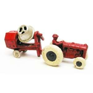Tractor with Cement Mixer Replica Cast Iron Farm Toy Tractor: