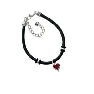Small Long Maroon Heart Black Charm Bracelet Arts, Crafts