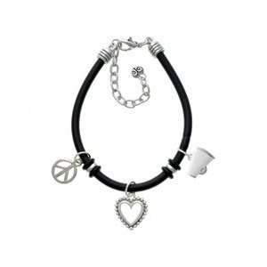 Small White Megaphone Black Peace Love Charm Bracelet